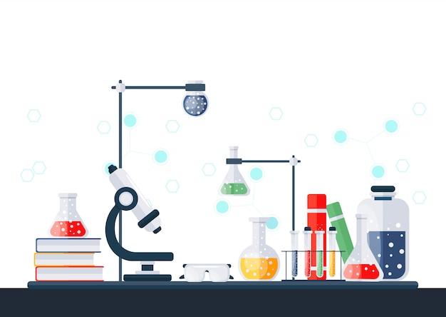 Ilustracja Laboratorium Chemicznego. Premium Wektorów