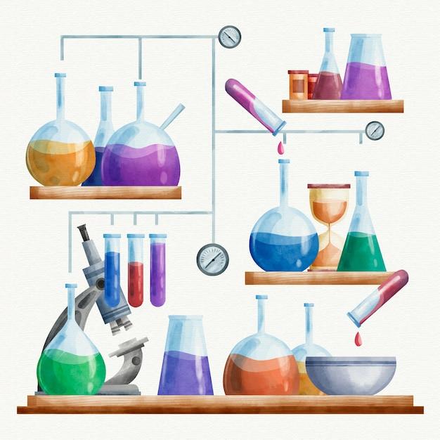 Ilustracja Laboratorium Nauki Akwarela Darmowych Wektorów