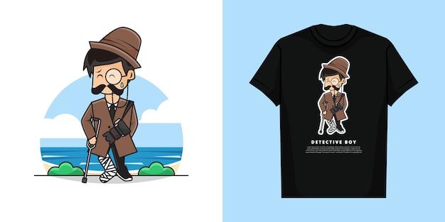 Ilustracja ładny Detektyw Chłopiec Z Gestem Złamania Nogi I Projekt Koszulki Premium Wektorów