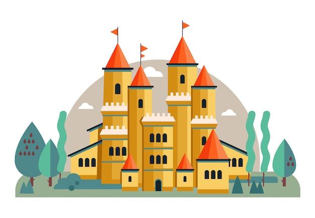 Ilustracja ładny Różowy Zamek Premium Wektorów