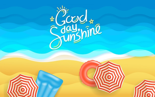 Ilustracja lato plaża Premium Wektorów