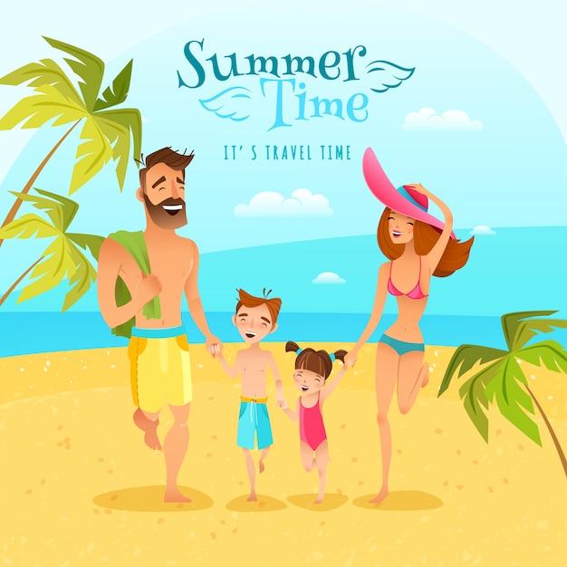 Ilustracja lato sezon rodzinny Darmowych Wektorów