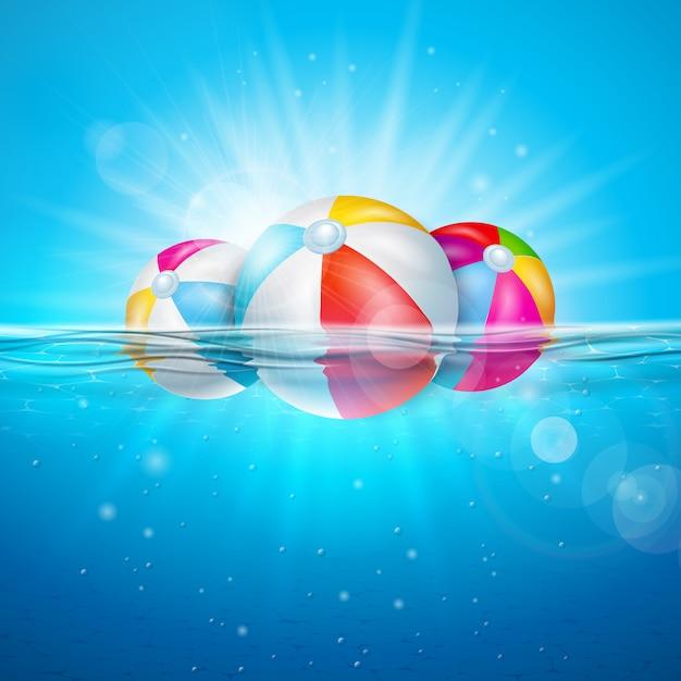 Ilustracja lato z piłki plażowej na tle podwodnego oceanu niebieski. Premium Wektorów