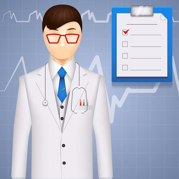 Ilustracja Lekarza Lub Kardiologa Na Tle Kardiogramu Premium Wektorów