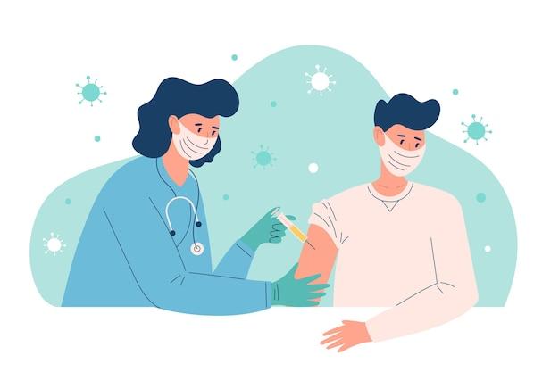 Ilustracja Lekarza Wstrzykującego Szczepionkę Pacjentowi W Klinice Darmowych Wektorów