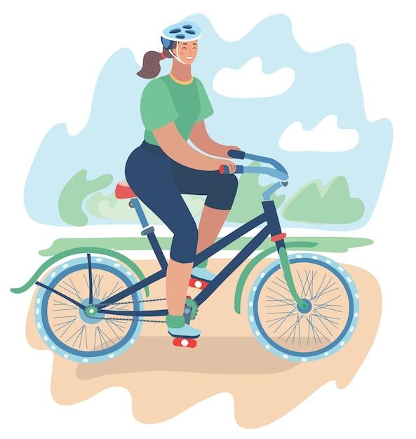 Ilustracja Lekkoatletycznego Dziewczyna Jeździ Rowerem W Kasku Wokół Parku Miejskiego. Letni Krajobraz Premium Wektorów