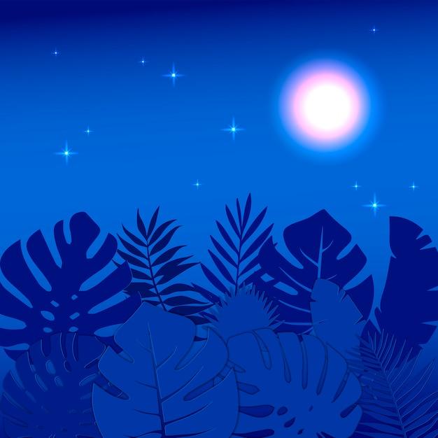 Ilustracja Letniej Nocy Kwiecista Dżungla Z Liśćmi Monstera. światło Gwiazd I Księżyca świecące W Nocy. Premium Wektorów