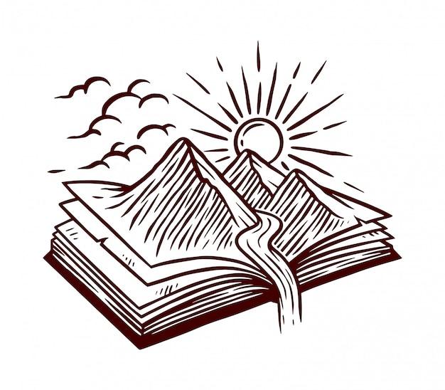 Ilustracja Linia Książka Natura Premium Wektorów