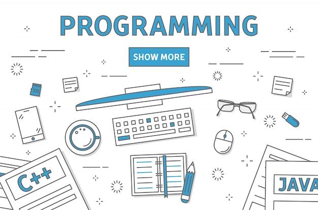 Ilustracja Linii Programowania. Premium Wektorów