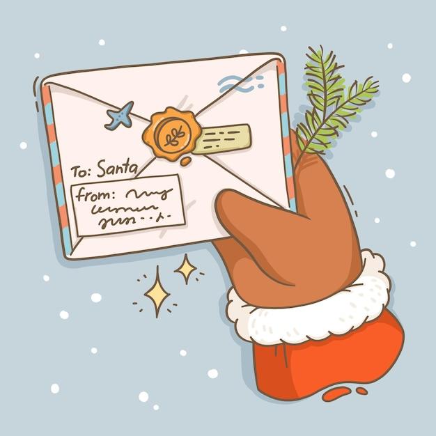 Ilustracja List Kartki świąteczne Do świętego Mikołaja Premium Wektorów