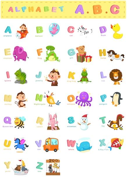 Ilustracja litery alfabetu zwierząt az Premium Wektorów