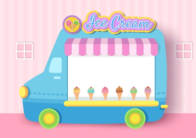Ilustracja lody ciężarówka rama projekt szablonu menu. Premium Wektorów