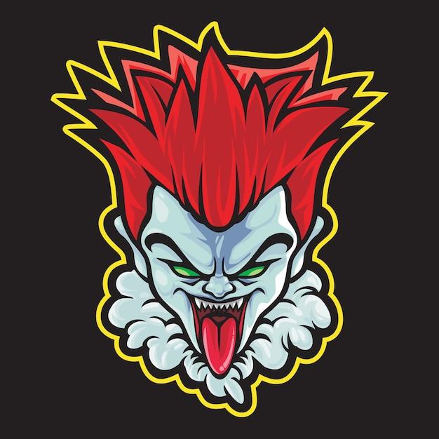 Ilustracja Logo Crazy Clown Esport Premium Wektorów