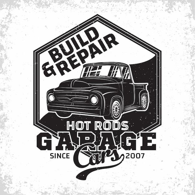 Ilustracja Logo Garażu Hot Rod Premium Wektorów