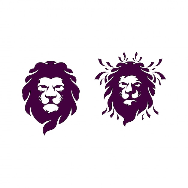 Ilustracja logo głowa lwa Premium Wektorów