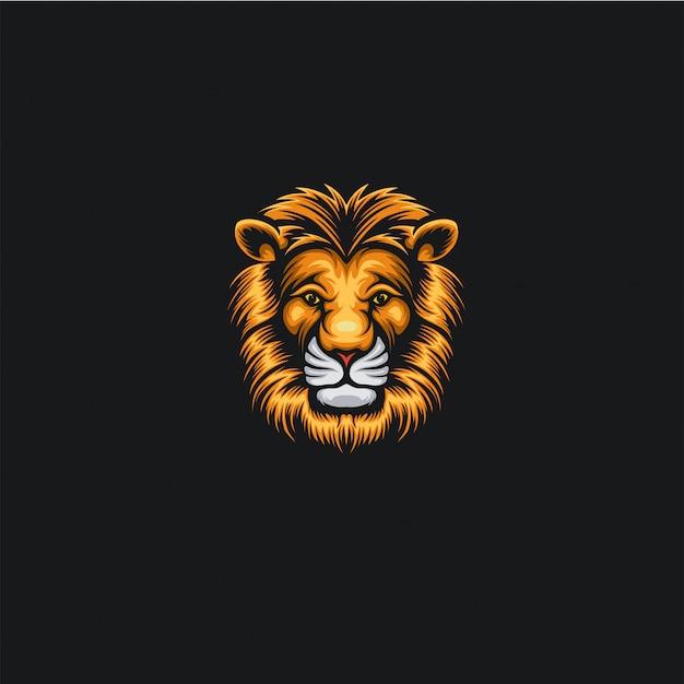 Ilustracja logo lwa głowy Premium Wektorów