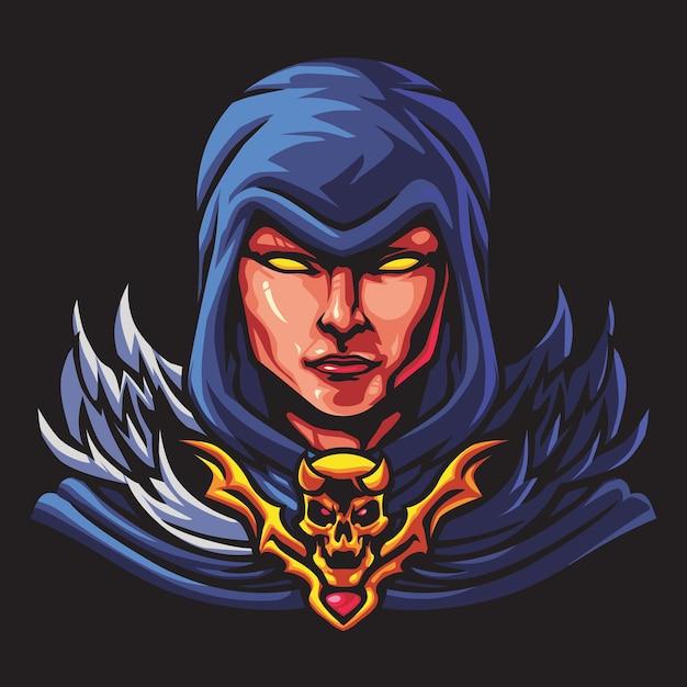 Ilustracja Logo Młoda Witch Esport Premium Wektorów