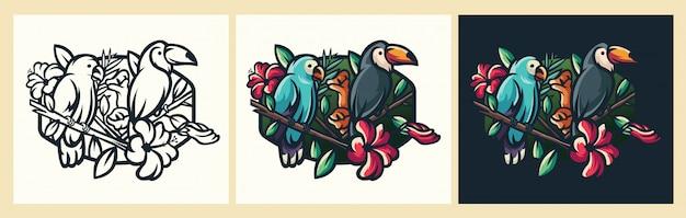 Ilustracja Logo Ptaka Premium Wektorów