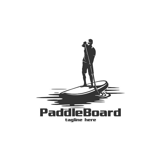 Ilustracja logo sylwetka wiosła pokładzie Premium Wektorów