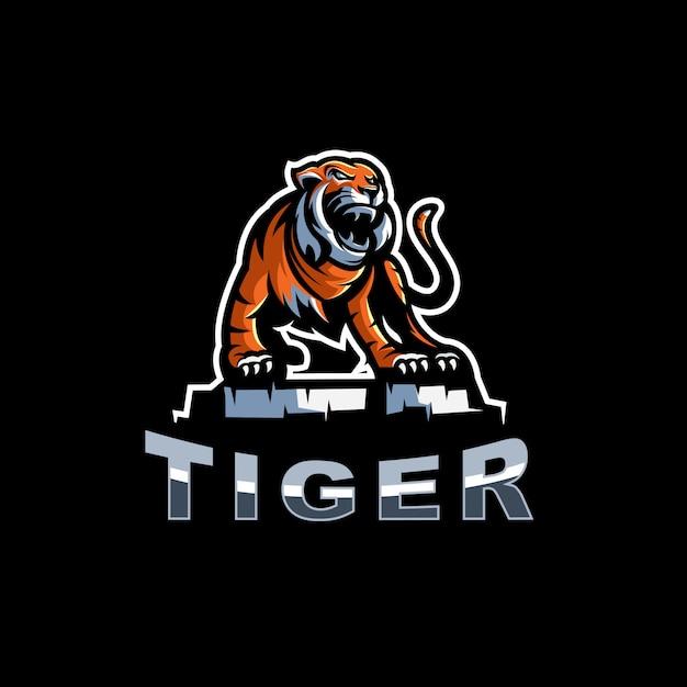 Ilustracja logo tygrysa Premium Wektorów
