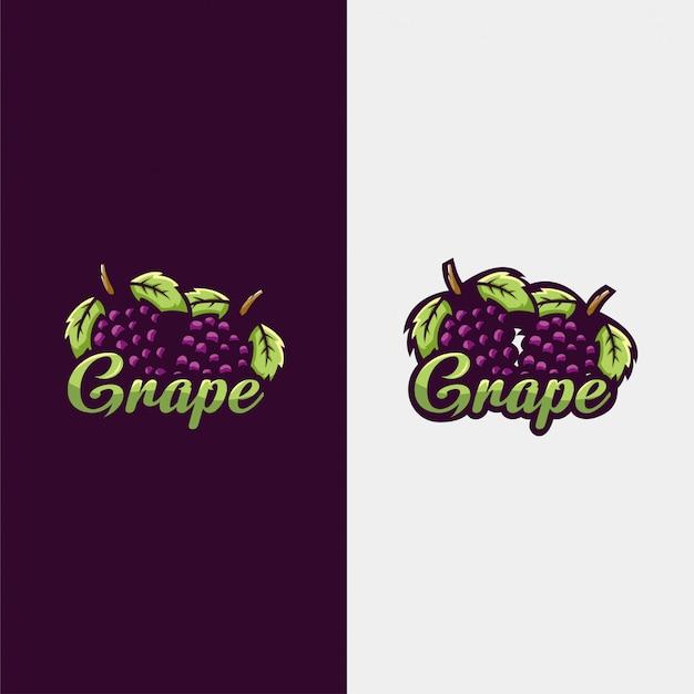 Ilustracja logo winogron Premium Wektorów