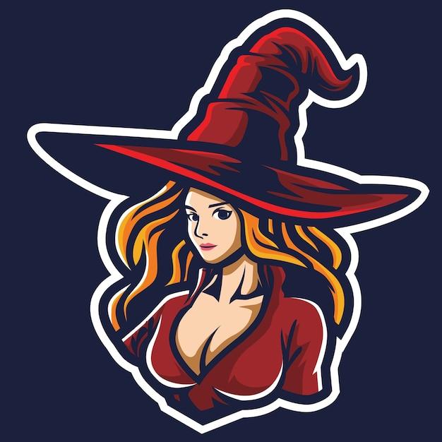 Ilustracja Logo Witch Girl Esport Premium Wektorów