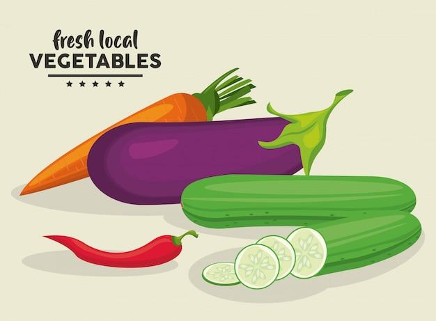 Ilustracja Lokalnych świeżych Warzyw Premium Wektorów