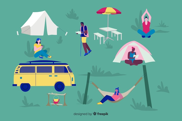 Ilustracja ludzi robi camping Darmowych Wektorów