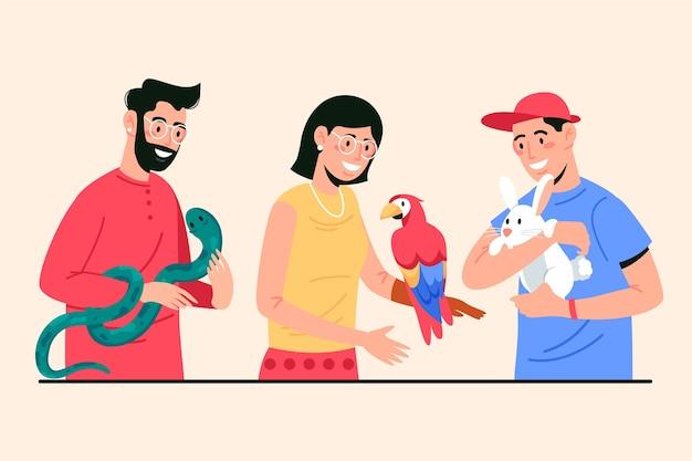 Ilustracja Ludzi Ze Zwierzętami Darmowych Wektorów