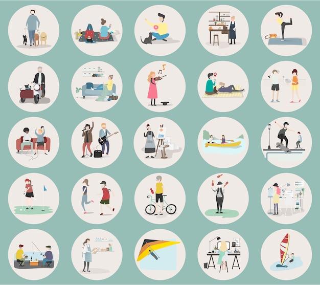 Ilustracja Ludzkich Hobby I Działalności Darmowych Wektorów