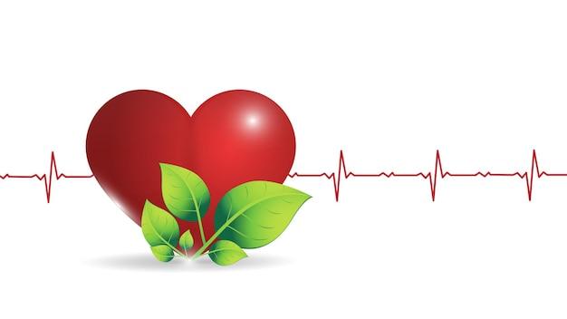 Ilustracja Ludzkiego Serca Na Tle świecącej Grafiki Tętna. Premium Wektorów