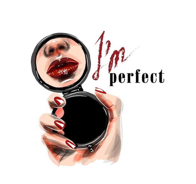 Ilustracja. Lustro W Kobiecej Dłoni Z Odbiciem Jej Ust. Jestem Idealnym Tekstem Premium Wektorów