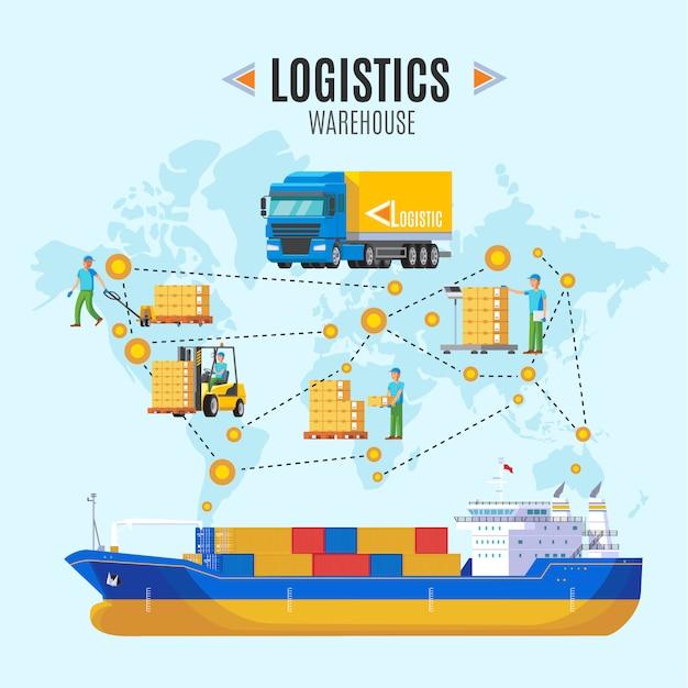 Ilustracja Magazyn Logistyczny Darmowych Wektorów