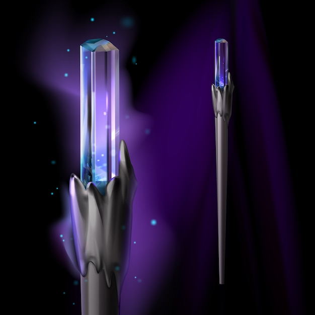Ilustracja Magicznej Różdżki Z Kryształową I Jasną Poświatą Darmowych Wektorów