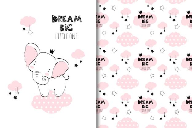 Ilustracja małego słonia Premium Wektorów