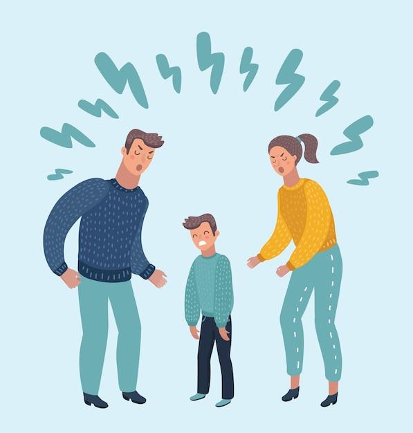 Ilustracja Małego Smutnego Chłopca Płaczącego, Przeklinającego Swoich Ukochanych Rodziców. Fa Premium Wektorów