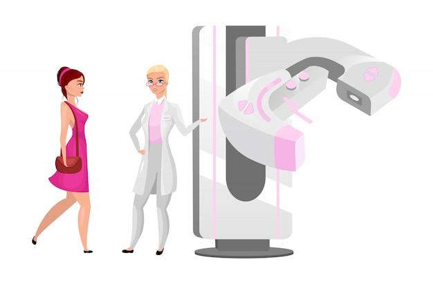 Ilustracja Mammografii Diagnostycznej. Procedura Badania Piersi Kobiety. Lekarz Z Nowoczesną Maszyną Rentgenowską. Procedura Radiografii. Pacjentka Z Postaciami Z Kreskówek Mammolog Premium Wektorów