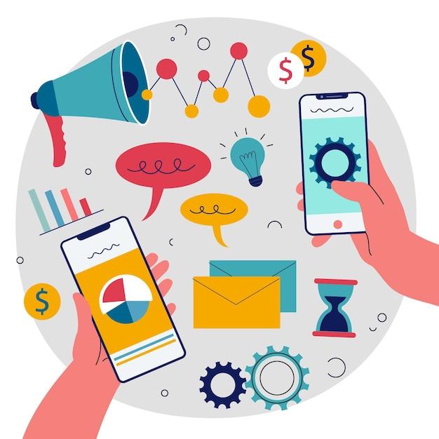 Ilustracja Marketingu Mobilnego Premium Wektorów
