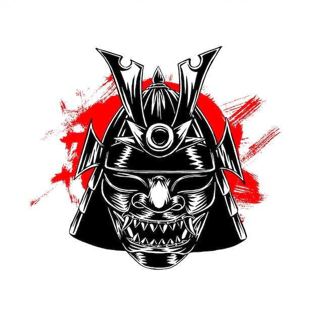Ilustracja maski wojny samurajskiej Premium Wektorów
