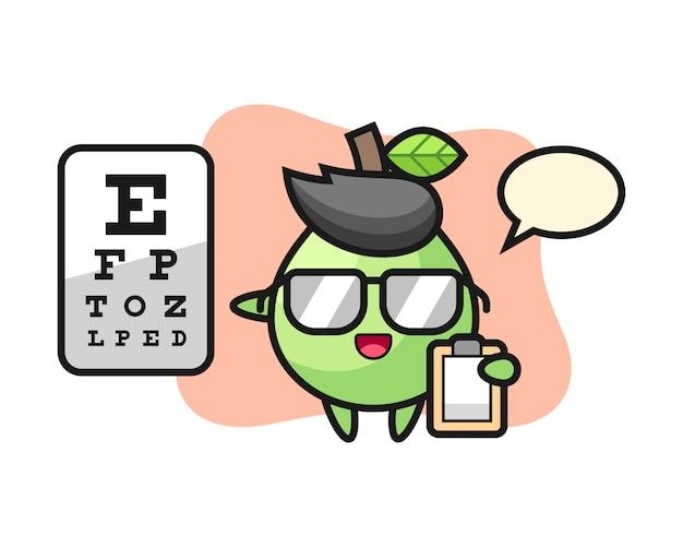Ilustracja Maskotka Guawa Jako Okulistyka, ładny Styl Na Koszulkę, Naklejkę, Element Logo Premium Wektorów