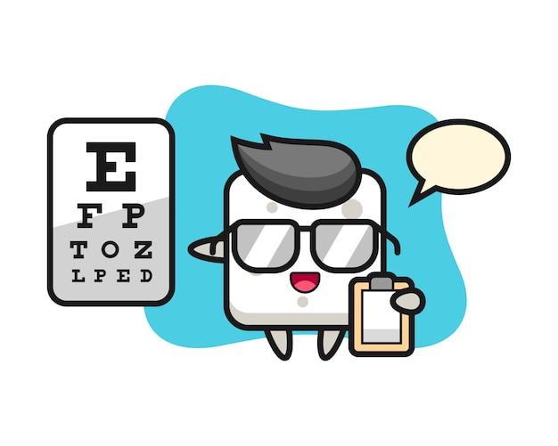 Ilustracja Maskotka Kostka Cukru Jako Okulistyka, ładny Styl Na Koszulkę, Naklejkę, Element Logo Premium Wektorów