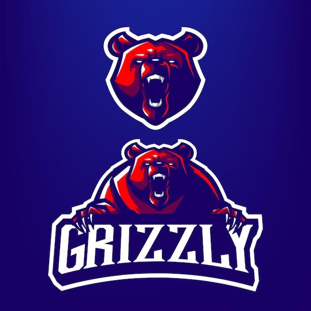 Ilustracja Maskotka Niedźwiedź Grizzly Dla Sportu I E-sportu Logo Na Białym Tle Na Ciemnym Niebieskim Tle Premium Wektorów