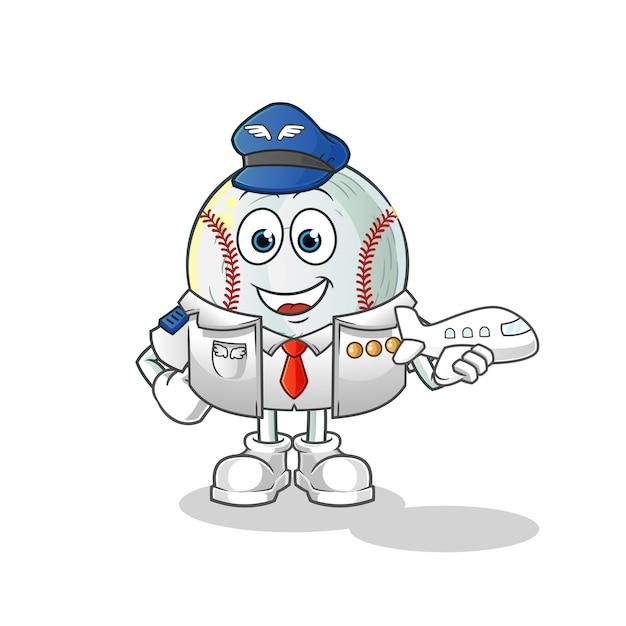 Ilustracja Maskotka Pilota Baseballowego Premium Wektorów