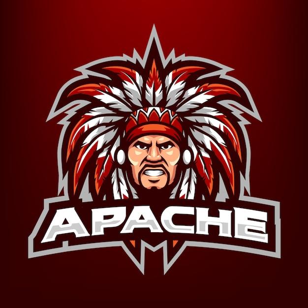 Ilustracja Maskotka Szef Apache Head Dla Sportu I E-sportu Logo Na Białym Tle Na Ciemnym Czerwonym Tle Premium Wektorów