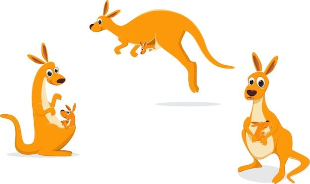 Ilustracja Matki Kangur Z Jej Dzieckiem Premium Wektorów