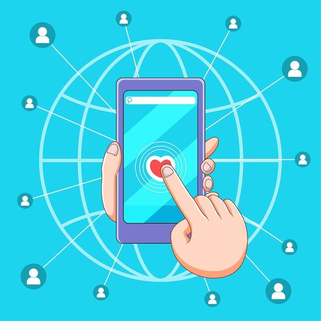Ilustracja Mediów Społecznościowych W Smartfonie Premium Wektorów
