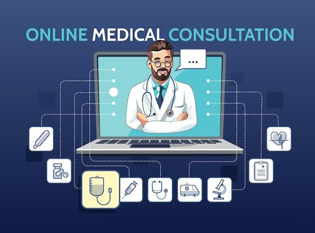 Ilustracja Medycznej Konsultacji Online Z Lekarzem Za Pomocą Laptopa. Koncepcja Aplikacji Z Ikonami Premium Wektorów