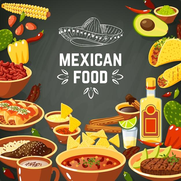 Ilustracja meksykańskie jedzenie Darmowych Wektorów
