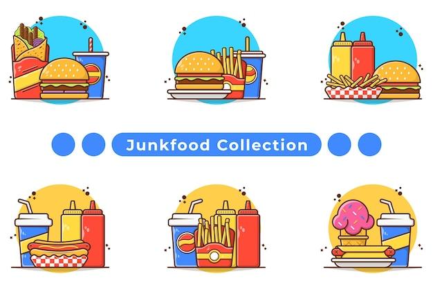 Ilustracja Menu Posiłek Fast Food W Wyciągnąć Rękę Premium Wektorów