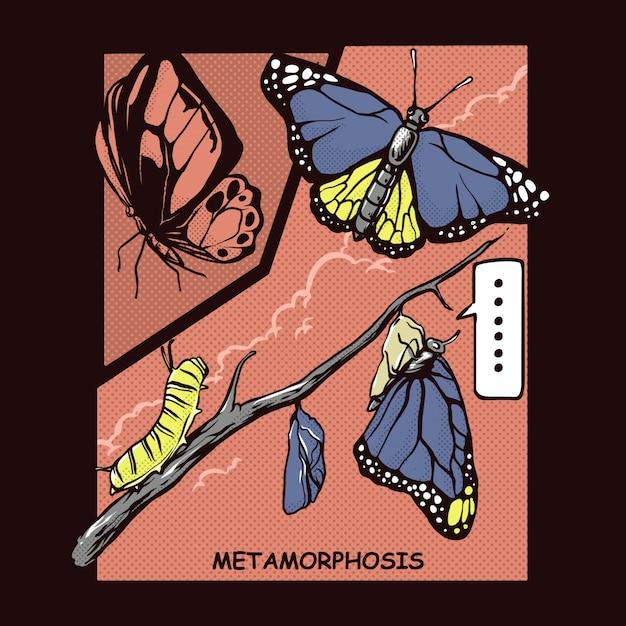 Ilustracja Metamorfozy Motyla W Stylu Komiksowym Premium Wektorów